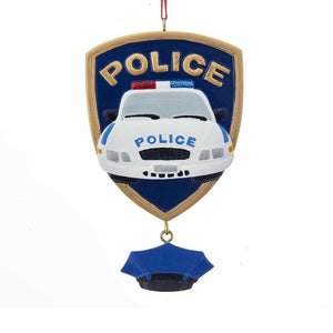 Kurt Adler Police Car Badge What Ornament For Personalization, A1788