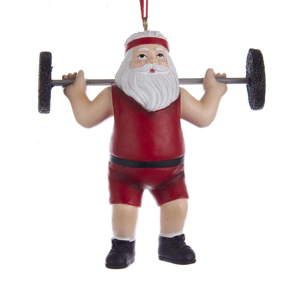 Kurt Adler Santa Weightlifter Ornament, A1861