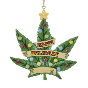 "Kurt Adler ""Happy Holidaze"" Cannabis Leaf Ornament For Personalization, A1877"