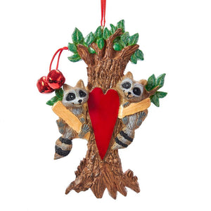Kurt Adler Raccoon Family Of 2 Ornament For Personalization, A1923