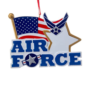 Kurt Adler U.S. Air Force™ Flag and Star Ornament For Personalization, AF2163