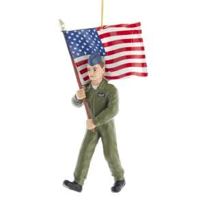 Kurt Adler United States USA Air Force Soldier Ornament with Flag, AF2191