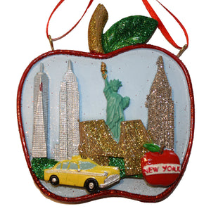 New York City Scene in Big Apple Ornament, CC010