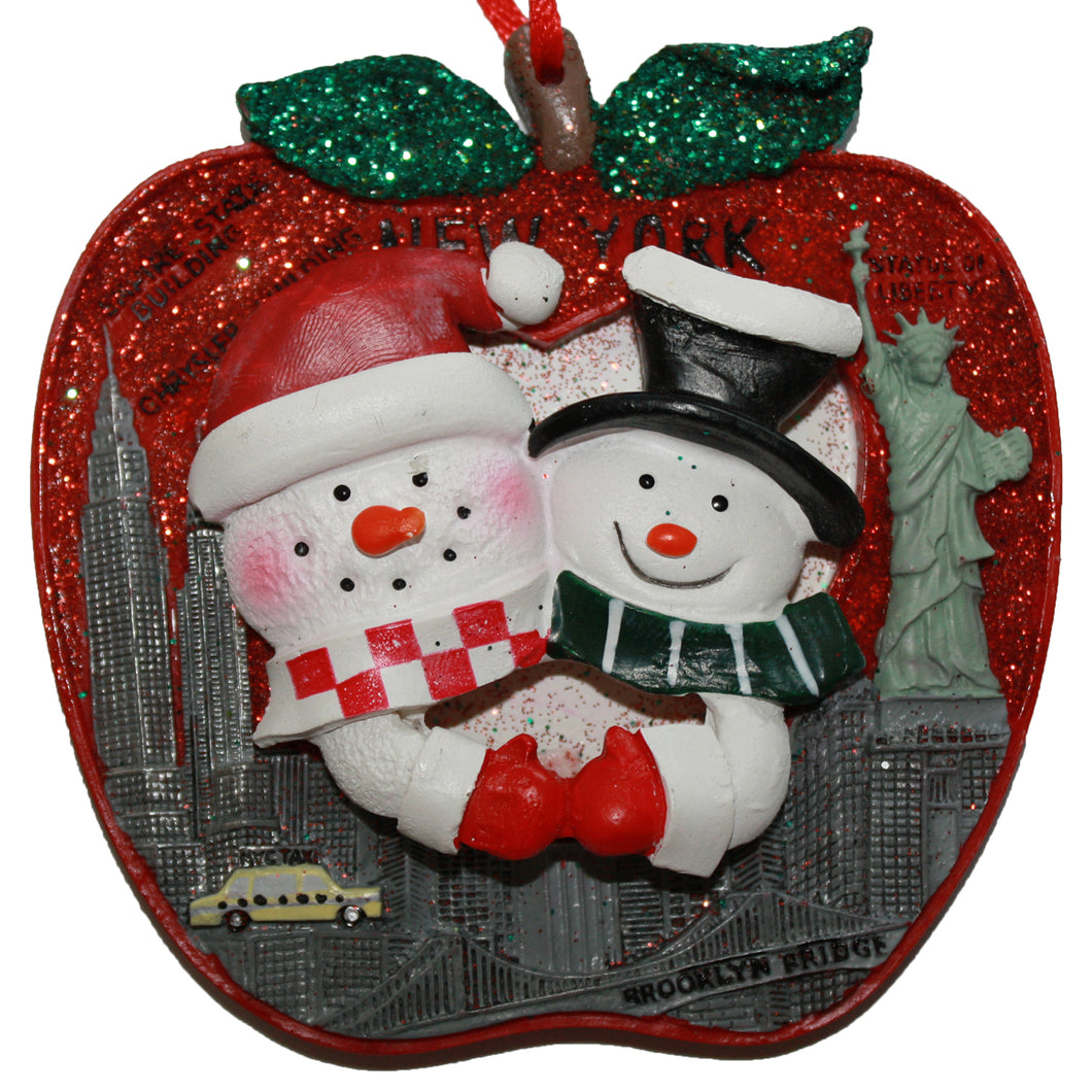 New York City Snowman Couple on Glitter Apple Ornament for Personalization
