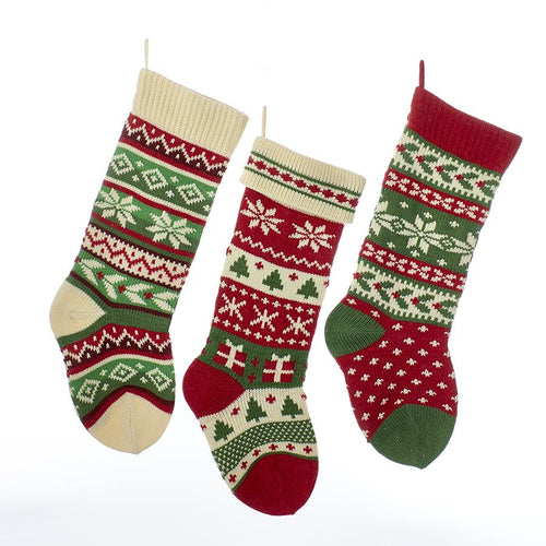 Kurt Adler Red, Green and Ivory Knit Snowflake and Christmas Tree Stockings, 3 Assorted, B0680