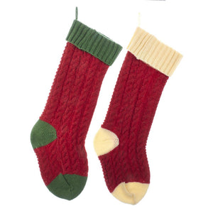 Kurt Adler Red, Green And Ivory Cable Knit Stockings, 2 Assorted, B0690