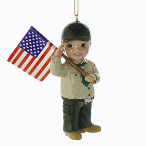 "Kurt Adler 3.75""Boy Scout with Flag Ornament          , BS2164B"