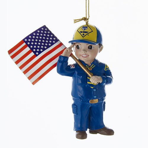 Kurt Adler Cub Scout With Flag Ornament, BS2164C