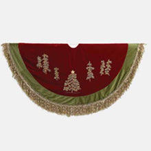 Kurt Adler 50-Inch Burgundy Velvet Ribbon Tree Skirt With Green Tassel Border, C1202