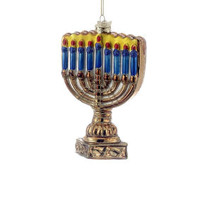 Kurt Adler Noble Gems Menorah Glass Ornament, C1739
