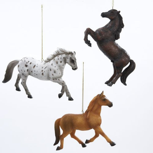 Resin Horse Ornament, White, Brown, Tan, C3721
