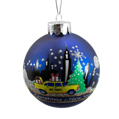 Kurt Adler 80MM New York City Glass Ball Ornament, C4130