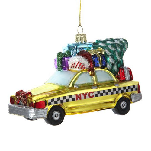 Kurt Adler New York City Checker Taxi With Tree Glass Ornament, C4172