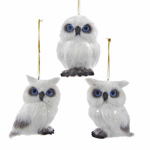 Kurt Adler Plush White Owl Ornaments, 3 Assorted, C4673