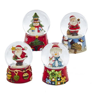 Kurt Adler Santa and Snowman Water Globes, 4 Assorted, C4699