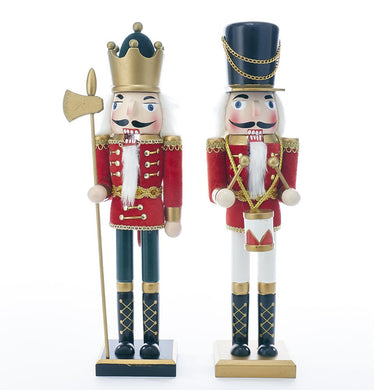 Kurt Adler 15-Inch Wooden King and Soldier Nutcrackers, 2 Assorted, C4810