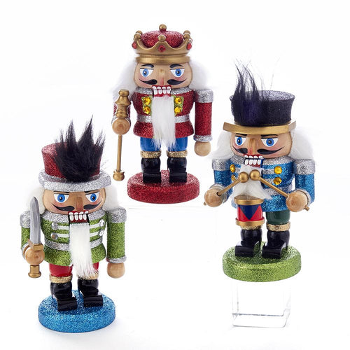Kurt Adler 5-Inch Wooden Red, Green and Blue Chubby Nutcrackers, C5870