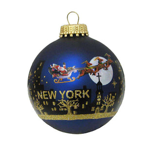 Kurt Adler New York Santa Skyline Hand Painted Glass Ball Ornament, C6008