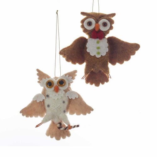 Kurt Adler Fabric Owl Ornaments, 2 Assorted, C6405