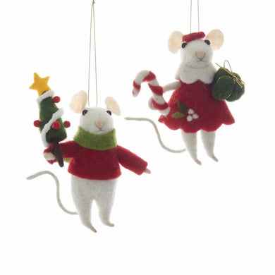 Kurt Adler Felt Boy and Girl Mouse Ornaments, 2 Assorted, C6406