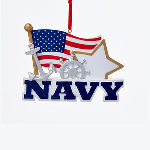 Kurt Adler Navy With American Flag Ornament For Personalization, C6548