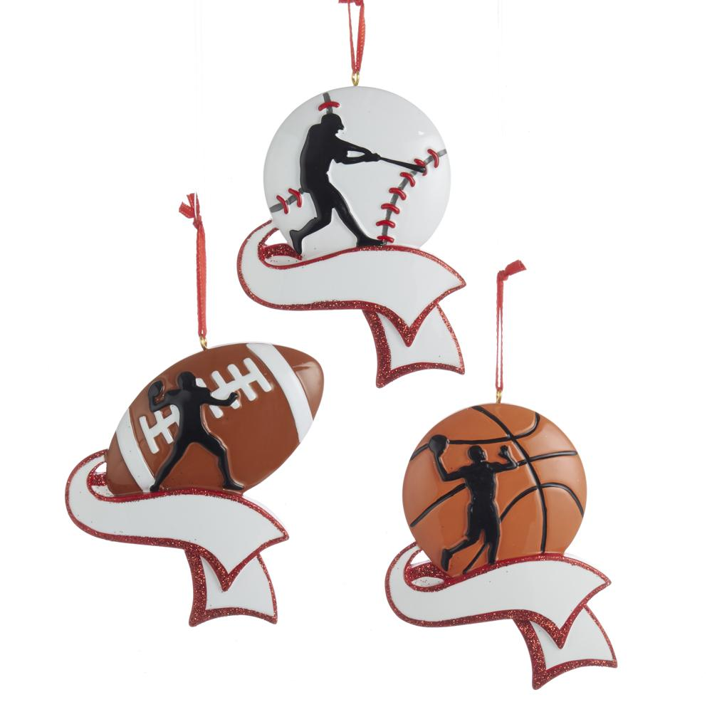 Kurt Adler Sports Silhouette Ornament For Personalziation, 3 Assorted, C6598