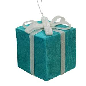 Tiffany Blue Color Gift Box with White Ribbon Ornament, C6989