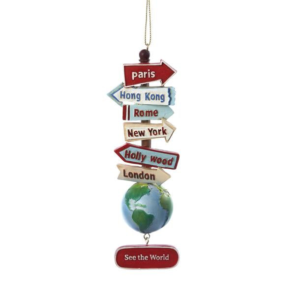 Kurt Adler World With Signs Ornament, C7210