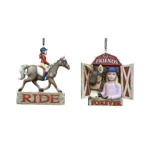 Girl Horse Riding Equestrian Ornament, 2 Assorted, C7271