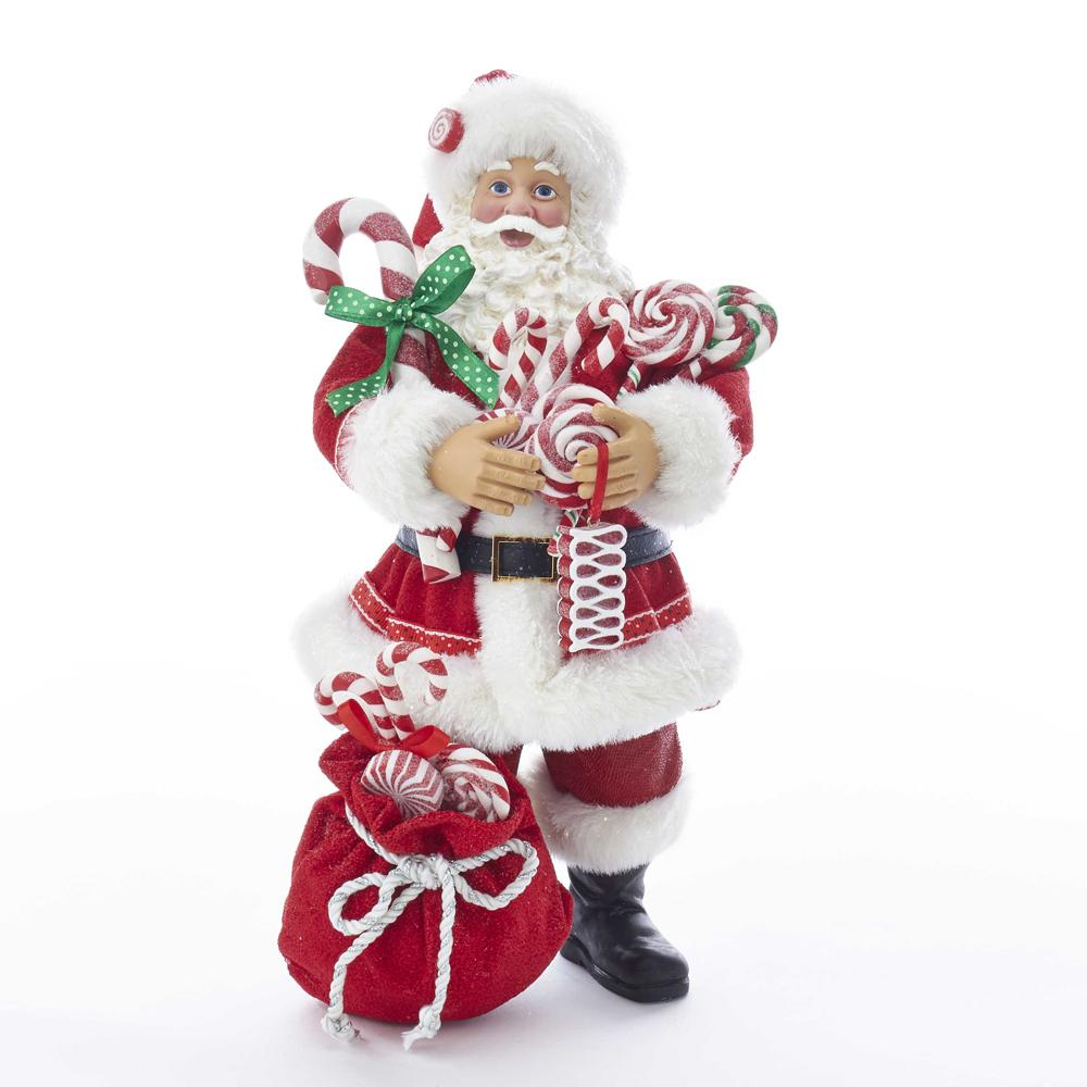 Kurt Adler 10.5-Inch Fabrich_ Santa With Christmas Candy and Bag, C7493
