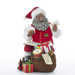 Kurt Adler 8.5-Inch Fabrich_ African America Santa With Toys and Book, C7494
