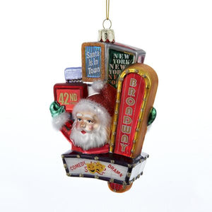 Kurt Adler Santa On Broadway Sign Glass Ornament, C7500