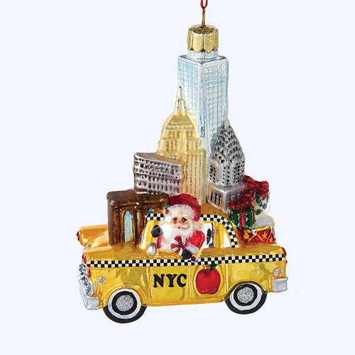Kurt Adler NYC Santa In Taxi Glass Ornament, C7562