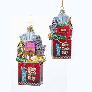 Kurt Adler New York City Shopping Bag Glass Ornament, C7564
