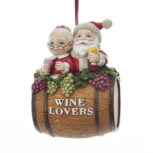 "Kurt Adler Mr. & Mrs. Claus ""Wine Lover"" Barrel Ornament, C7621"