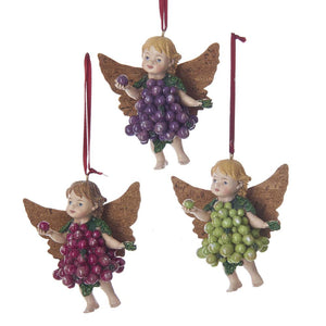 Kurt Adler Grape and Cork Angel Ornaments, 3 Assorted, C7623