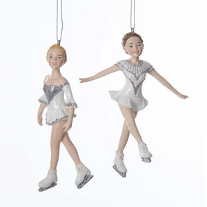 Kurt Adler Silver and White Ice Skater Ornaments, 2 Assorted, C7637