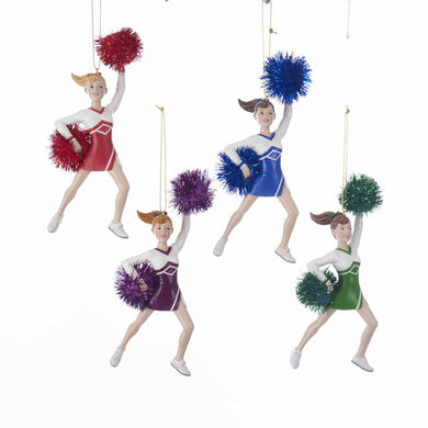 Kurt Adler Cheerleader With Pom Pom Ornaments, Red, Green Blue, Purple , C7689