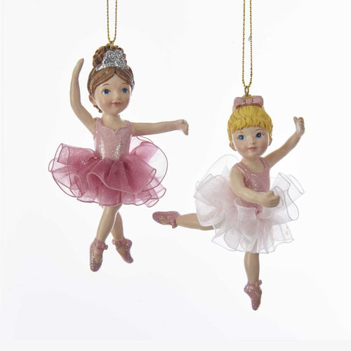 Kurt Adler Ballerina Girl With Tutu Ornaments, 2 Assorted, C7690
