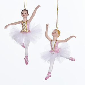 Kurt Adler Pink and White Ballerina Ornaments, 2 Assorted, C7975