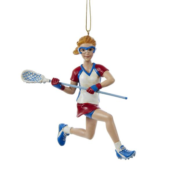 Kurt Adler Lacrosse Girl Ornament, C8593G