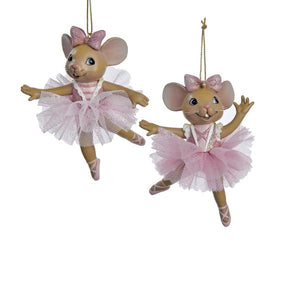 Kurt Adler Ballet Mouse Ornaments, 2 Assorted, C8753
