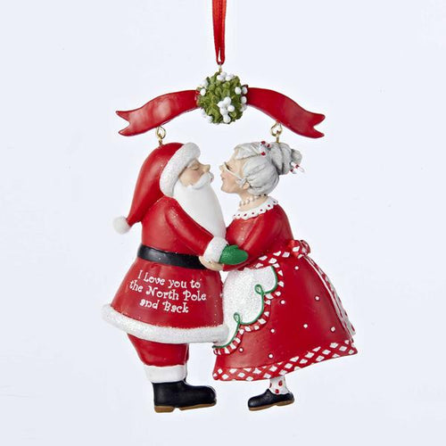 Kurt Adler Mr. and Mrs. Claus Under Mistletoe Ornament, C8800