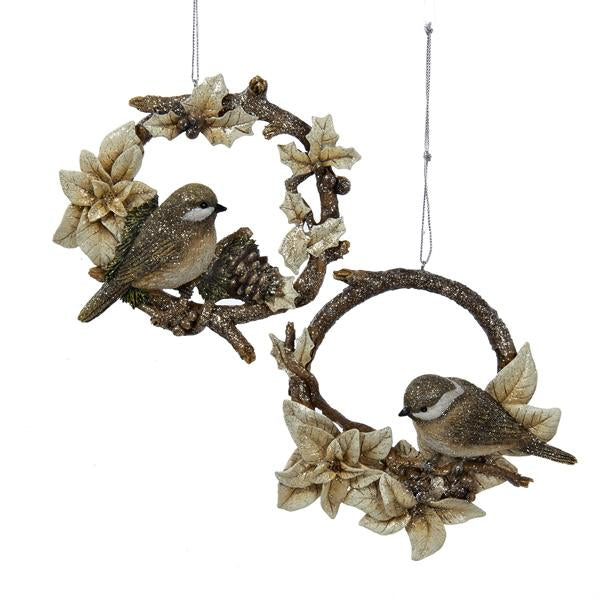 Kurt Adler Songbird and Chickadee Ornaments, 2 Assorted, C8876