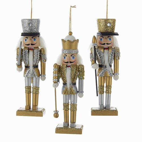 Kurt Adler Gold and Silver Nutcracker Ornaments, 3 Assorted, C9675