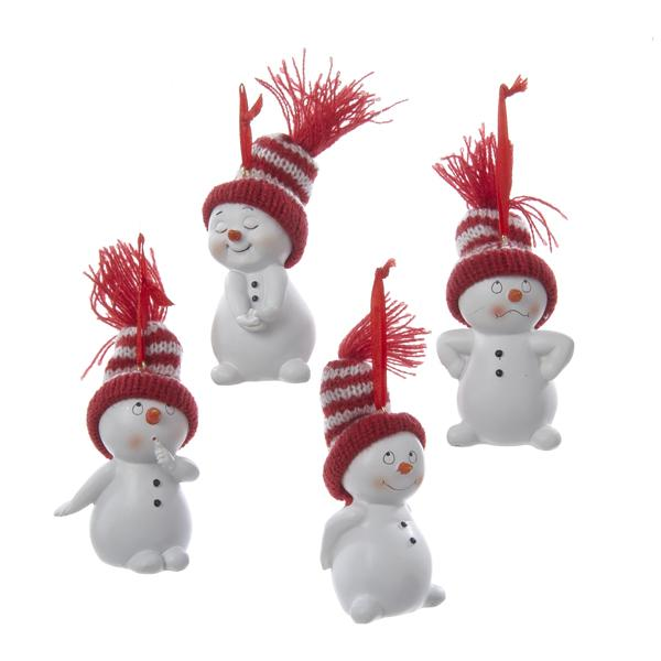 Kurt Adler Snowman With Knitted Hat Ornaments, 4 Assorted, C9692