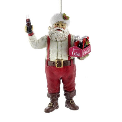 Kurt Adler Santa Holding A 6-Pack of Coca-Cola Ornament, CC9122