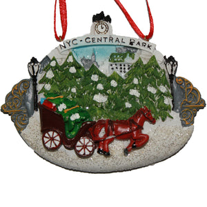 New York City Glitter Central Park Ornament with Horse & Buggy, CC004