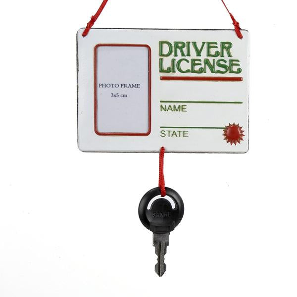 Kurt Adler Drivers License With Key Picture Frame Ornament, D0501