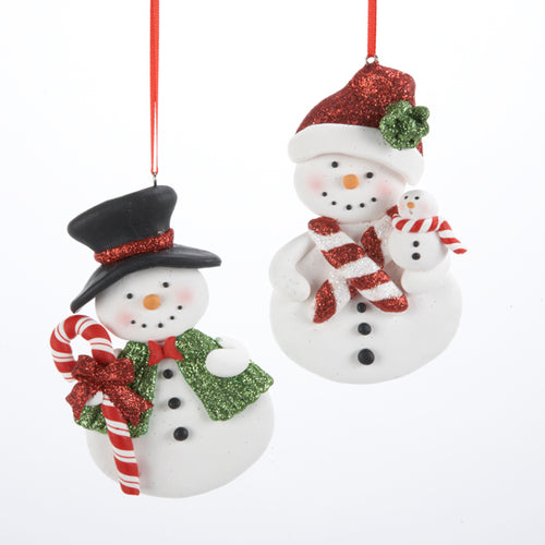 Claydough Snowman Ornament for Personalization, Set of 2, D1020